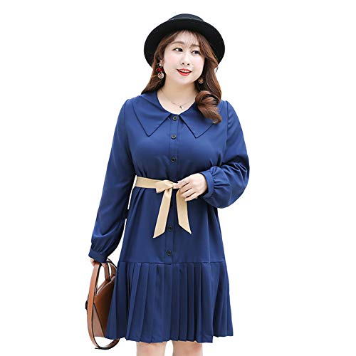 YAN Damendress Woven Pleated Shirt Dress Loose Slim Bow Tie Long Sleeve Chiffon Dress Wedding Party & Evening Blue,Blue,XXXL Blue Woven Tie