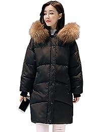 Battercake Parka Invierno Mujer con Capucha De Piel Largos Manga Largo Caliente Pluma Abrigo Acolchado Casuales