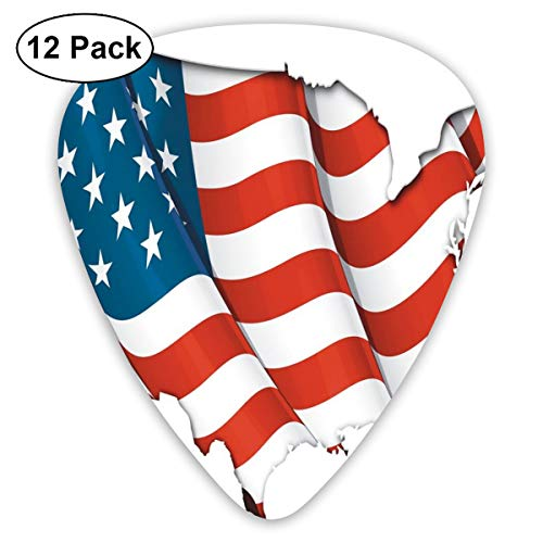 Guitar Picks - Abstract Art Colorful Designs,Graphic United States Flag American Federations Star Symbol Print,Unique Guitar Gift,For Bass Electric & Acoustic Guitars-12 Pack (Ball Halloween State)