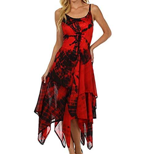 Yvelands Mode Kleid Unregelmäßige Lace Up Korsett Mieder Taschentuch Saum Kleid Strand Lange Maxi Kleider(rot,L) -