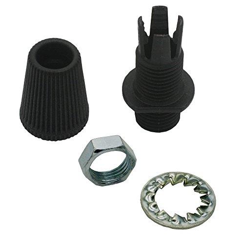 Zugentlaster Schwarz 2-teilig Gewinde M10x1 + Sechskantmutter + Zahnscheibe Zugentlastung für Pendel- und Hängeleuchten schraubbar SET-SW (Palmen 15mm)