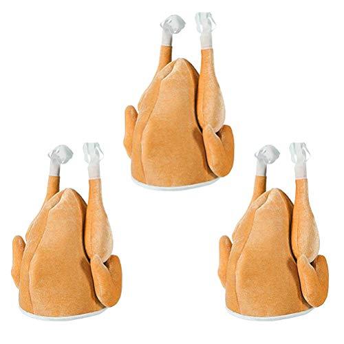 YeahiBaby 3 Stücke Truthahn Hut Mütze Hähnchen Hut Hühner Hut Türkei Hut Thanksgiving Halloween Weihnachten Kostüm Zubehör (braun)