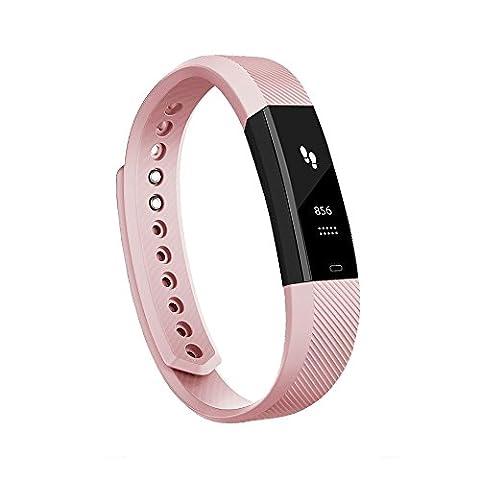 Antimi Bracelet Connecté,Sport Smart watch Band montre connectée Bluetooth 4.0 Tracker d'activité Podomètre avec , Alarme, Step, Calories, Sommeil pour iPhone Android Smart Phone(Rose)