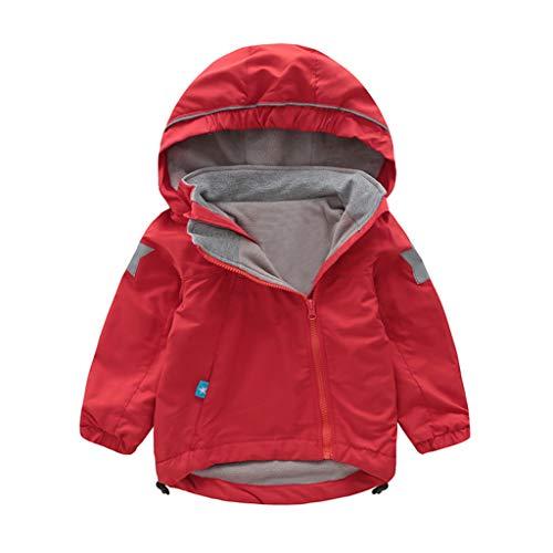 Livoral Kleinkind-Kind-Baby-Karikatur-Tiermit Kapuze Mantel-Jacke Outwear Winddichte Ausstattungen(Rot,120)