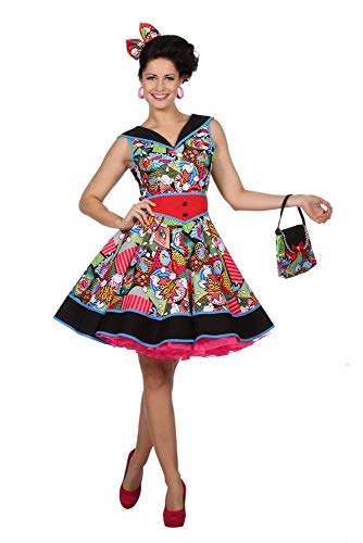 shoperama Damen Kostüm Pop-Art Comic Kleid 50er