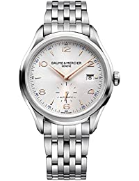 Baume & Mercier Clifton Mens Automatic Watch Swiss Made - 41mm Analog Silver Face with Second Hand, Date, Sapphire Crystal - Stainless Steel Metal Band Self Winding Luxury Dress Watches For Men 10141