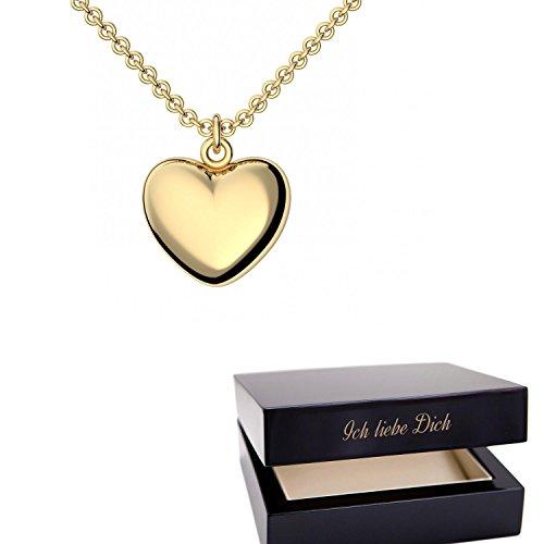 Goldkette damen herz  Herzkette Gold 925 Kette Damen +GRATIS Etui mit Gravur Echt ...
