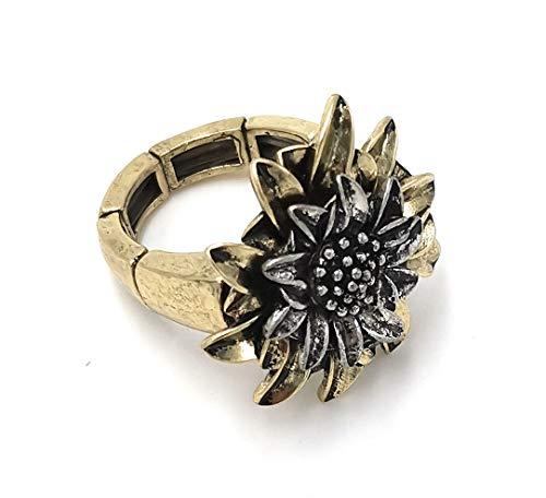 Meine Glitzerwelt Trachten Ring mit Edelweiß Einheitsgröße 18-21mm Farbe Bronze - Bronze 19