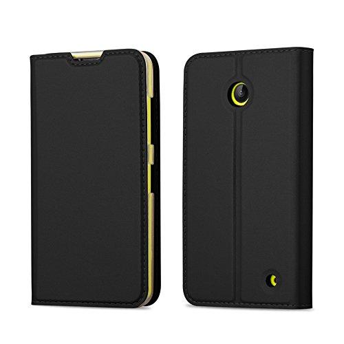 Cadorabo Custodia Libro per Nokia Lumia 630/635 in Classy Nero – con Vani di Carte, Funzione Stand e Chiusura Magnetica – Portafoglio Cover Case Wallet Book Etui Protezione