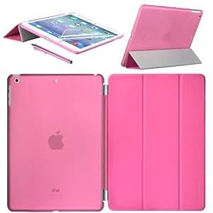 Swees Apple New iPad Air Smart Cover und TPU Back Hülle Cover Case Schutzhülle Etui Tasche für 2013 iPad Air iPad 5, Unterstützt Sleep / Wake Funktion+ Displayschutzfolie & Stylus (Eingabestift) - Rosa