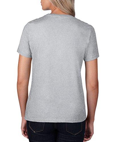 Anvil Damen-T-Shirt, halb-taillierte Passform Gr. Large, grau meliert