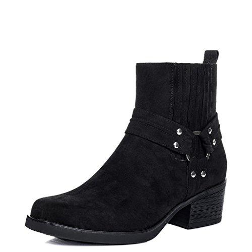 SPYLOVEBUY SPIDER Femmes Santiags à Talon Bloc Bottines Chaussures Noir - Simili Daim