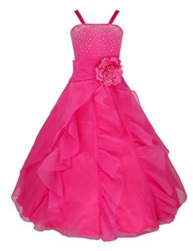 FEESHOW Elegante de Vestido Fiesta de Princesa para Niña Boda Disfraz Velada Noche Carnaval Rosa 6años