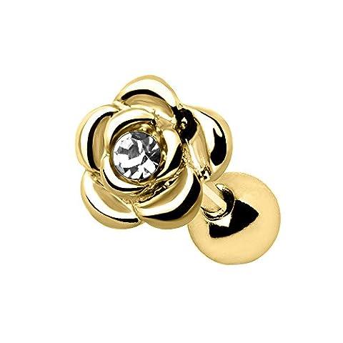 Clear Crystal Gold Plated Diamond Rose Tragus / Cartilage Upper Ear Earring Bar