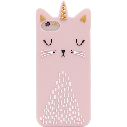 SevenPanda Katze Hülle für iPhone 5 iPhone SE, Cartoon Silikon Niedlich Entzückende 3D Schön Einhorn Katze Funny Hülle Stoßfest Schützende Soft Cover für iPhone SE/iPhone 5 / iPhone 5S - Rosa