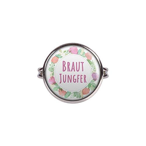 Mylery Ring mit Motiv Braut-Jungfer Blumen-Kranz silber 16mm