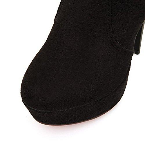 VogueZone009 Damen Blend-Materialien Überknie Hohe Stiefel Ziehen Auf Hoher Absatz Stiefel Schwarz
