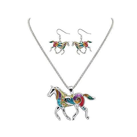 Tpocean Argent Alliage Animal d'été arc-en-ciel Element Collier et Boucles d'Oreilles Sets avec Multicolore Cheval Pendentif Charm