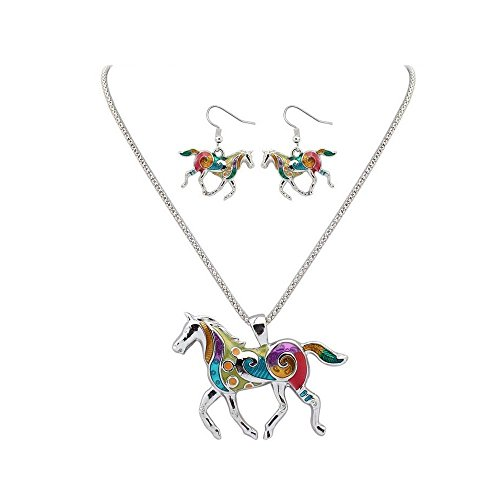 41Hne1SriML UK BEST BUY #1Tpocean Silver Alloy Animal Summer Rainbow Element Necklace and Earrings Sets With Multicolored Horse Pendant Charm price Reviews uk