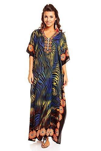 NUOVO da donna, oversize maxi Kimono Kaftan Tunica Abito Caftano Taglia unica Multi 31280