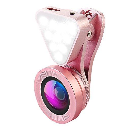 Galleria fotografica AMIR Obiettivi Smartphone con 10 Luci Flash, 0.4X - 0.6X Lenti Grandangolo, 15X Obiettivo Macro, Obiettivo Cell Phone per iPhone 7, 6s, 6s Plus, 6, 5s, Samsung, HTC e Più Smartphone(Rose)