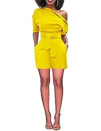 fbdfcd6a21d8 Women s Sexy Summer One Shoulder Solid Jumpsuits Club Cocktail Mini Playsuit  Short Romper Pants Belt