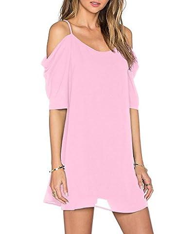 HIMONE Women's Chiffon Cut Out Cold Shoulder Spaghetti Strap Mini Dress Top Pink,XL