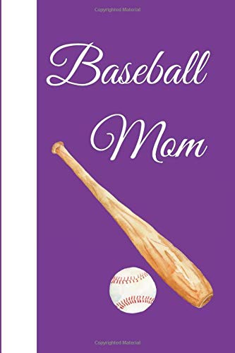 Purple and White Baseball Mom Notebook