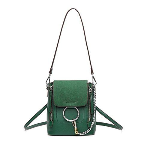 QPALZM 2017 Frau Matt Schulter Tasche Multifunktionale Schulter Lässig Mini-Handtasche Kettenrucksack Green
