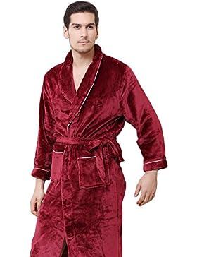 Fei Fei FEI Pijamas de Franela de Otoño e Invierno Pareja Bata de Albornoz de los Hombres Coral Cachemira de Manga...