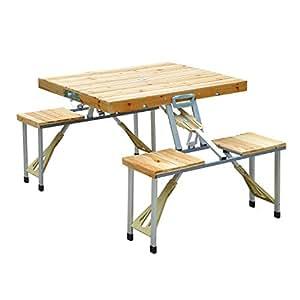 Homcom tavolo da campeggio picnic pieghevole in legno con 4 sedie giardino e - Tavolo pic nic decathlon ...