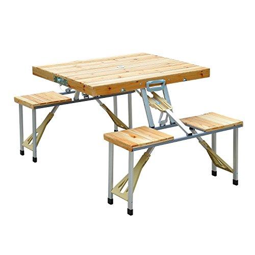 Outsunny Esstische Holz Camping-/Klapp-/Picknicktisch Koffer-Sitzgruppe-Gruppe mit 4 Sitzen, neu braun