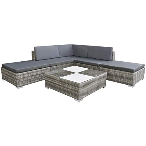 vidaXL Gartensofa 15-TLG. Poly Rattan Grau Sitzgruppe Lounge Gartenmöbel Set