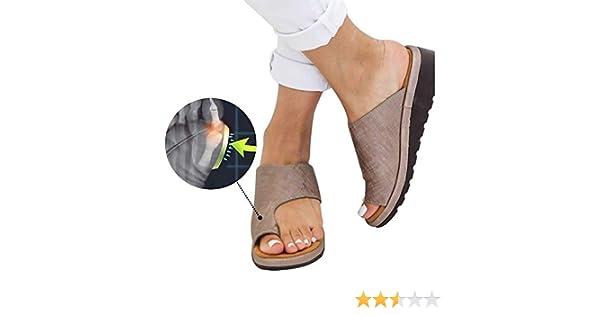 Sandales Femme Plates Plateforme Tongs Flip Flop Chaussure Causal Confortable Chaussons Chaussures de Sandale de Plate-Forme de Soutien dhallux Valgus de Gros Orteil de Femmes pour Le Traitement