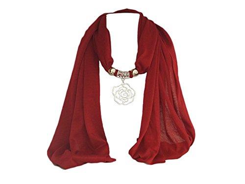 """La Loria bufanda de las mujeres """"Rose"""" pañuelo de moda con el colgante de la bufanda - Rojo"""