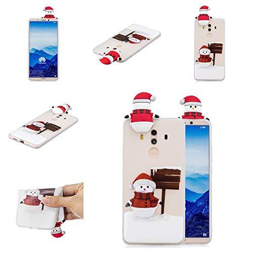 Forhouse Huawei Mate 10 Pro Hülle Weihnachten Taschen TPU Hülle Transparent Silikon Schutzhülle Weihnachten Santa Handy Hülle Weihnachts Mustern Tasche Cover Lovely Gemalt Schutzhülle