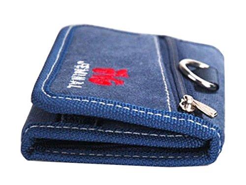 QISHI YUHUA JML da uomo Retro Pantaloncini Casual 3Fold Borsa Tela Portafogli, Army Green (verde) - QHISHI YUHUA JML011 Black