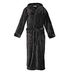 Lumaland Microfiber Bath Robe Mauritius Coral Fleece Unisex Housecoat With Hood Dressing Gown Wrap With Corrected Sizes