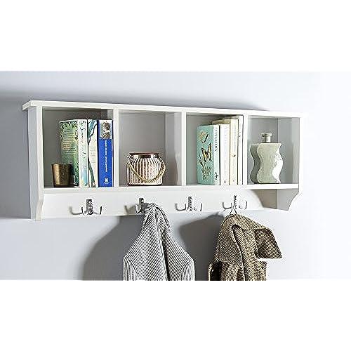 Home Source Kempton Wall Mounted Cabinet Coat Hooks Storage Unit,  MDF/Chipboard, White, 34 X 92 X 17 Cm