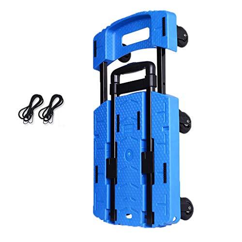 Klappbare Sackkarre Trolley-Gepäckwagen,Kleiner Anhänger-Faltender Trolley-Haushalts-LKW Einkaufswagen G3 Transportsystem (Color : Blue) -