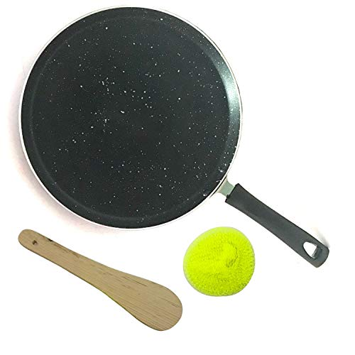 Nonstick Pan,Induction Base Non-Stick Dosa Tawa/Griddle,Dosa Pan,Dosa Pan Cookware,Dosa Tawa Indian Style, Nonstick Pan,Round Griddle,Cookware pan With 1-Piece Scrubber & 1-Piece Wooden Spatula