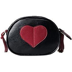 2017 Bolsos Messenger Messenger Corazón en forma de bolso de hombro redondo bolso Crossbody Kawaii Bolsas por HARRYSTORE (Negro)
