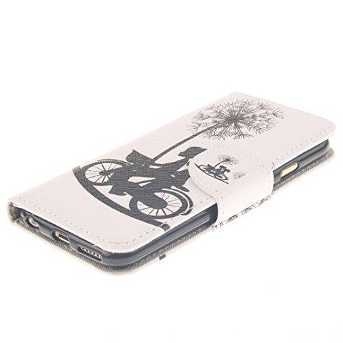 Xf-fly Ledertasche Schutzhülle für iPhone 6 / 6S PU Leder Flip Hülle mit Farbmalerei und TPU Innenschale Standfunktion Kartenfächer Magnetverschluss Knopf für Apple iPhone 6 / 6S (4.7 Zoll) P-3