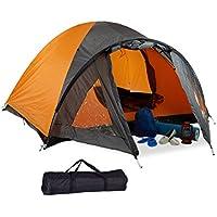 Relaxdays Campingzelt, für 3-4 Personen, mit Vorzelt, Wasserabweisend, UV 30+, HxBxT: 130 x 210 x 240 cm, Schwarz-Orange