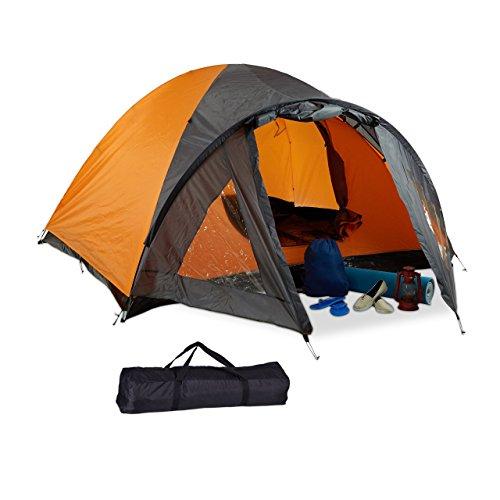 Relaxdays Campingzelt, für 2 Personen, mit Vorzelt, wasserabweisend, UV 30+, HxBxT: 130 x 210 x 240 cm, schwarz-orange