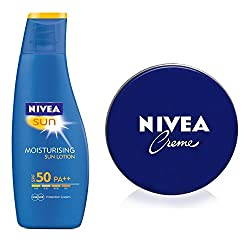 Nivea Moisturising Sun Lotion SPF-50, 125ml with Free Nivea Crme, 20ml