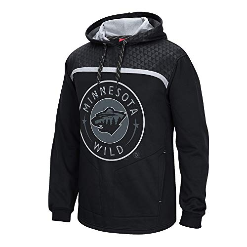 adidas Herren Kapuzenpullover Minnesota Wild Reebok Cross Check Primary Logo Schwarz, Herren, schwarz, Small -