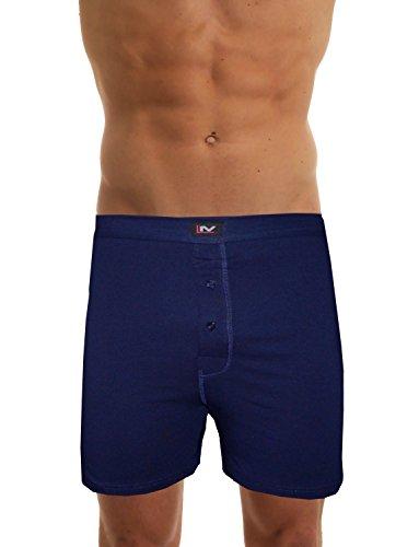 LisaModa Herren Boxershorts Lang Uni/Streifen Blau Blau 6er Pack