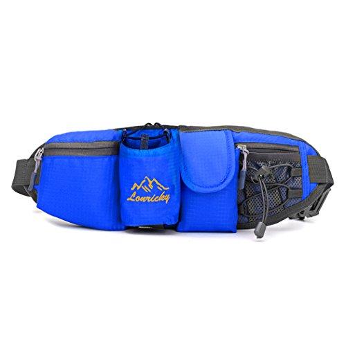 YKD Sport Hüfttaschen Gürteltasche Breathable Lithe Schweißleder wasserdicht Dehnbares Hüftband für weniger als 6 Zoll Telefon Joggen Radfahren Wandern Outdoor-L09 Blau