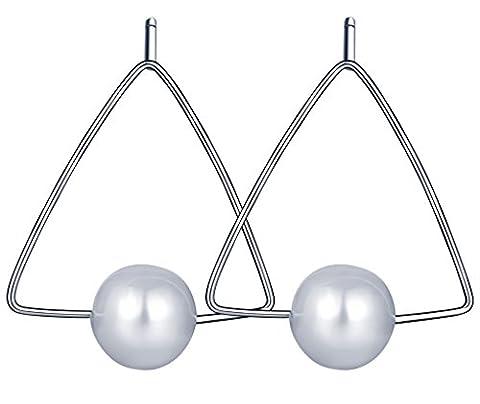 Infinite U Fashion Triangle 925 Sterling Silver Pearl Ear Studs Earring Earbob for Women/Girls, Silver
